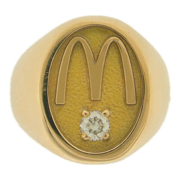 M Letter In Ring Ladies 14K Yell...