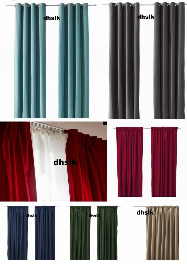 ikea sanela velvet drapes curtains 2 panels 98 long all colors dramatic classic ebay. Black Bedroom Furniture Sets. Home Design Ideas
