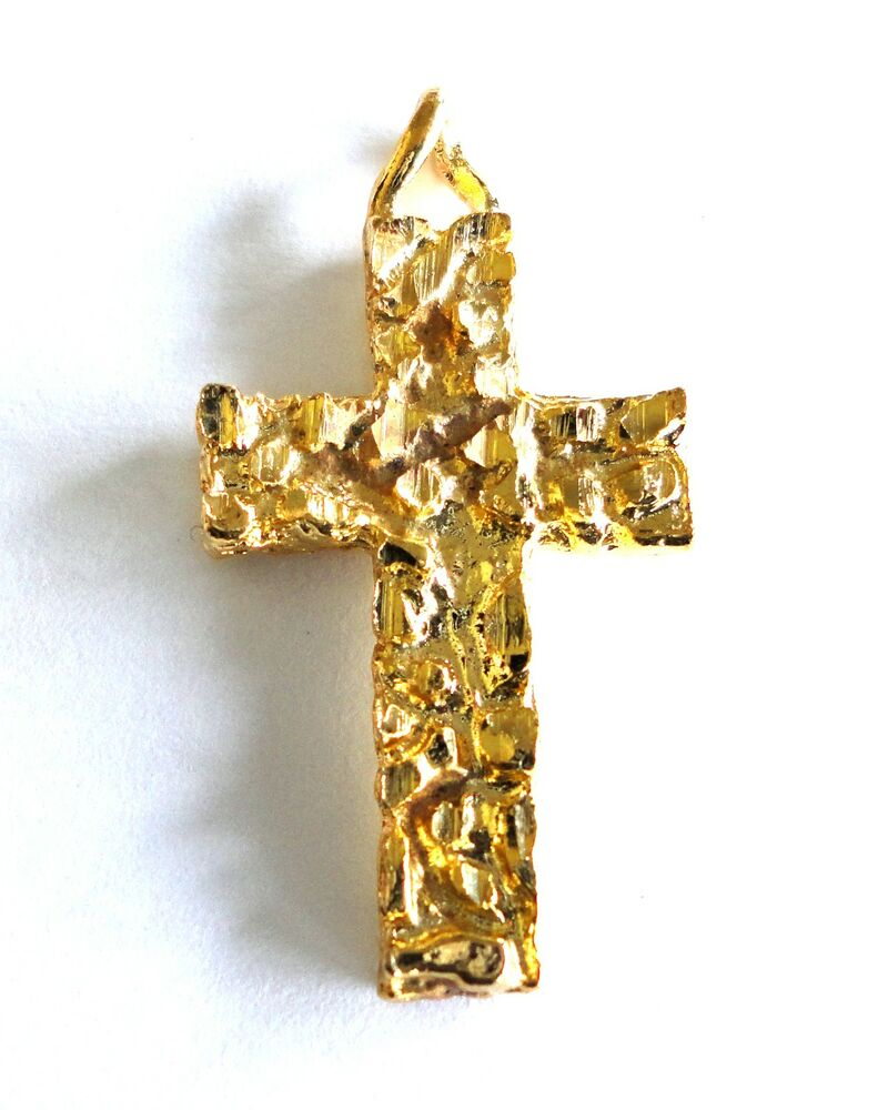 New Cross Religious Necklace Pendant Gold Plated Nugget