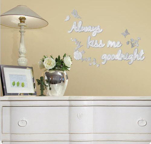 Always Kiss Me Goodnight Mirrored Wall Stickers 12 Mirror Decals Decor Butterfly Ebay