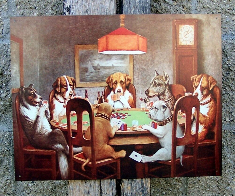 Metal retro sign dogs playing cards poker ad home wall