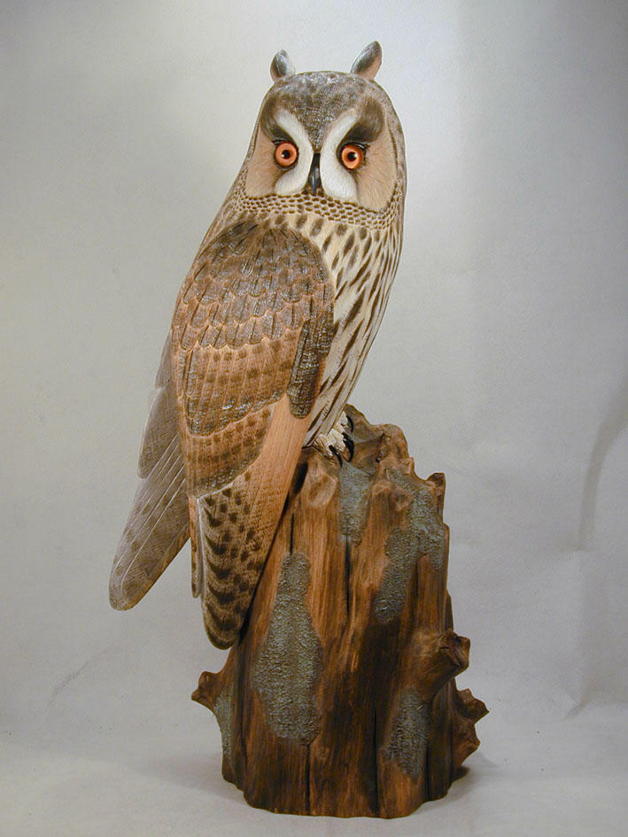 Life size long eared owl original wood carving ebay