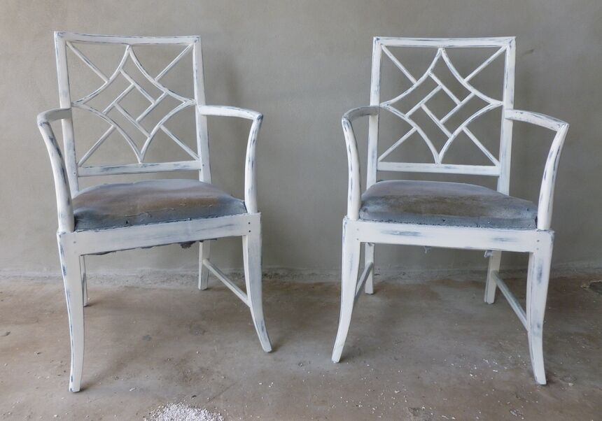 Fabulous Mid Century Chinese Chippendale Arm Chairs Like