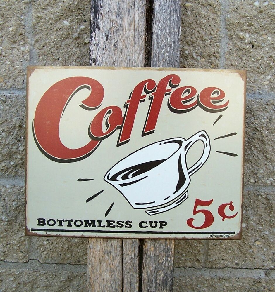 Antique Style Coffee Sign Ad Retro Kitchen Cafe Home Decor