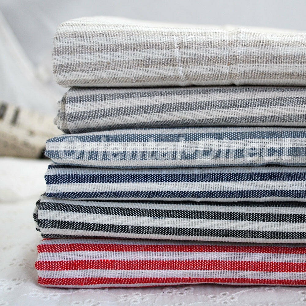 Chic Blue Beige Cotton Linen Plaid Curtains For Boys Bedroom: Shabby Chic Cotton Linen Fabric Nautical Ticking Stripe