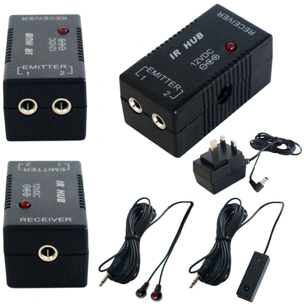 ir infrared hub repeater remote control system 1 receiver emitter av extender ebay. Black Bedroom Furniture Sets. Home Design Ideas
