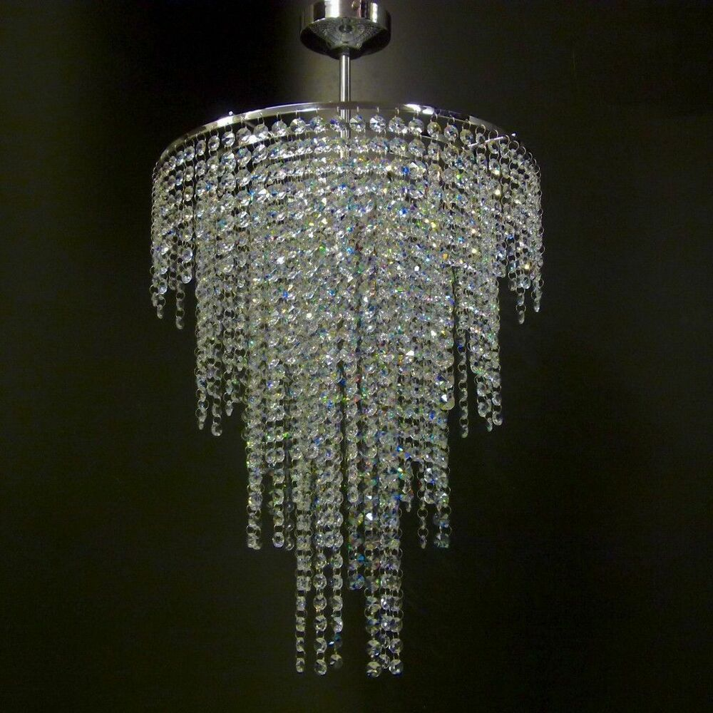 Chrome lead crystal glass chandelier ceiling light lamp lighting moss40mix ebay - Chandelier ceiling lamp ...
