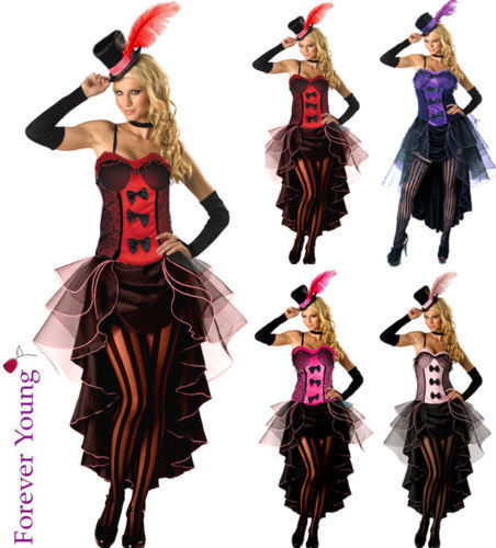 Burlesque Moulin Rouge Fancy Dress Costume Can Can Girl Dance Outfit Hat Amp Glove Ebay