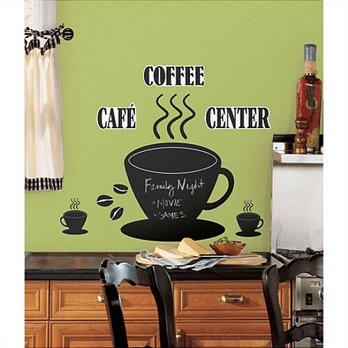 Coffee cup chalkboard wall stickers mural 22 decals cafe for Cafe wall mural