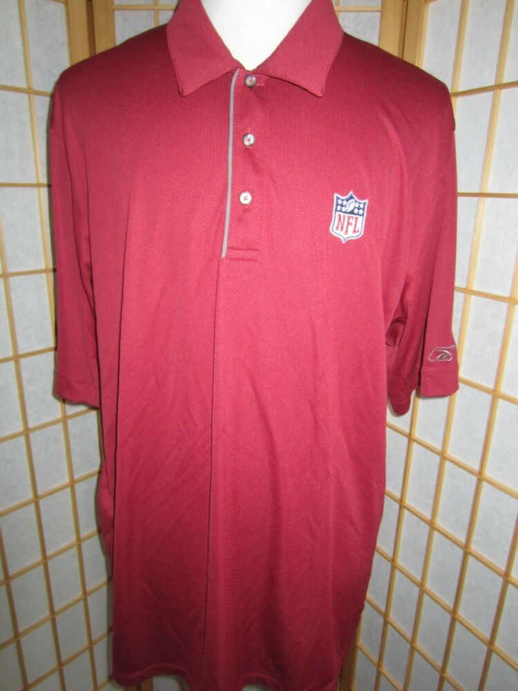 Mens reebok prestige sport nfl wine 3 button polo short for Button up collared sport shirts