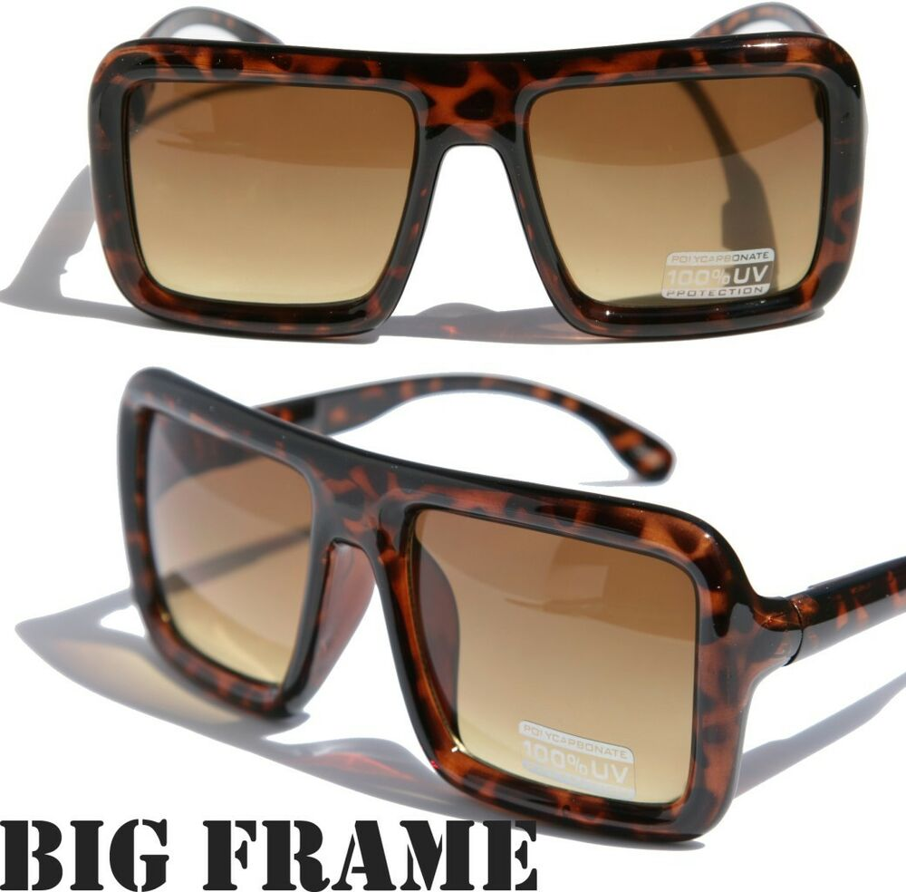 Large retro vintage bold thick square frame sunglasses for Large a frame