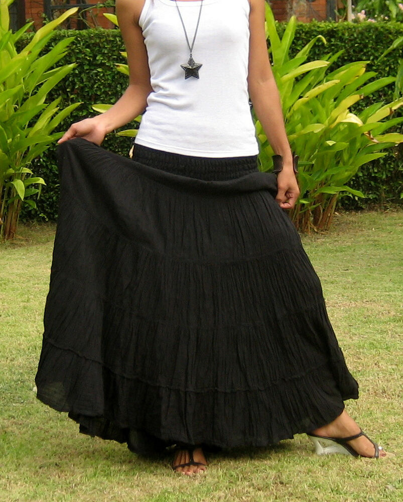 Black cotton tiered maxi skirt – Modern skirts blog for you