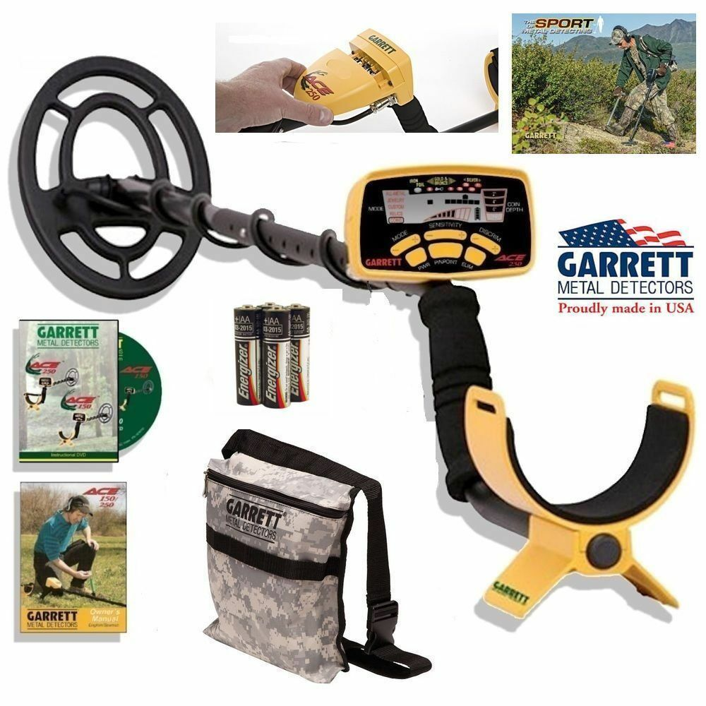 garrett ace 250 metal detector with water proof coil and camo treasure pouch ebay. Black Bedroom Furniture Sets. Home Design Ideas