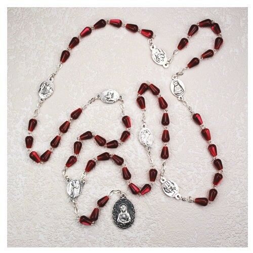 Ivl Red Tear Drop Bead Seven Sorrows Blessed Virgin Mary