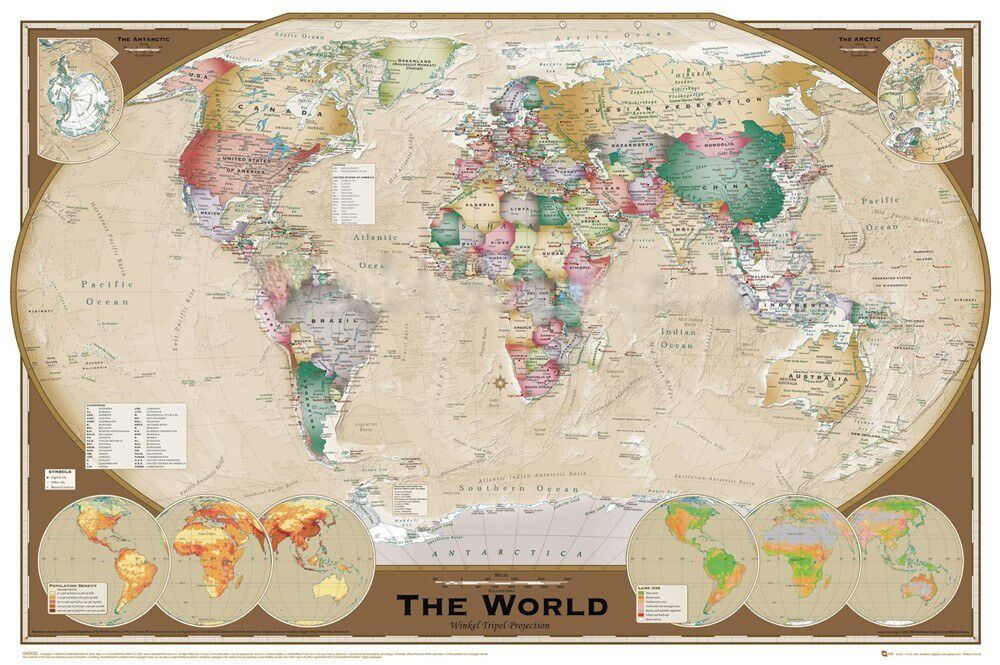 World Map Triple View Educational Office Print 24x36 eBay