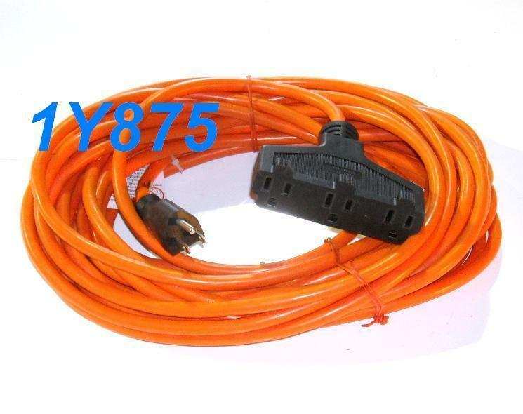 50 ft power extension cord 14 3 awg 13a 1625w 3 outlet ebay. Black Bedroom Furniture Sets. Home Design Ideas