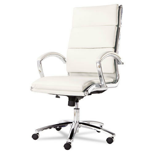 High Back White Leather Office Chair With Padded Arms EBay