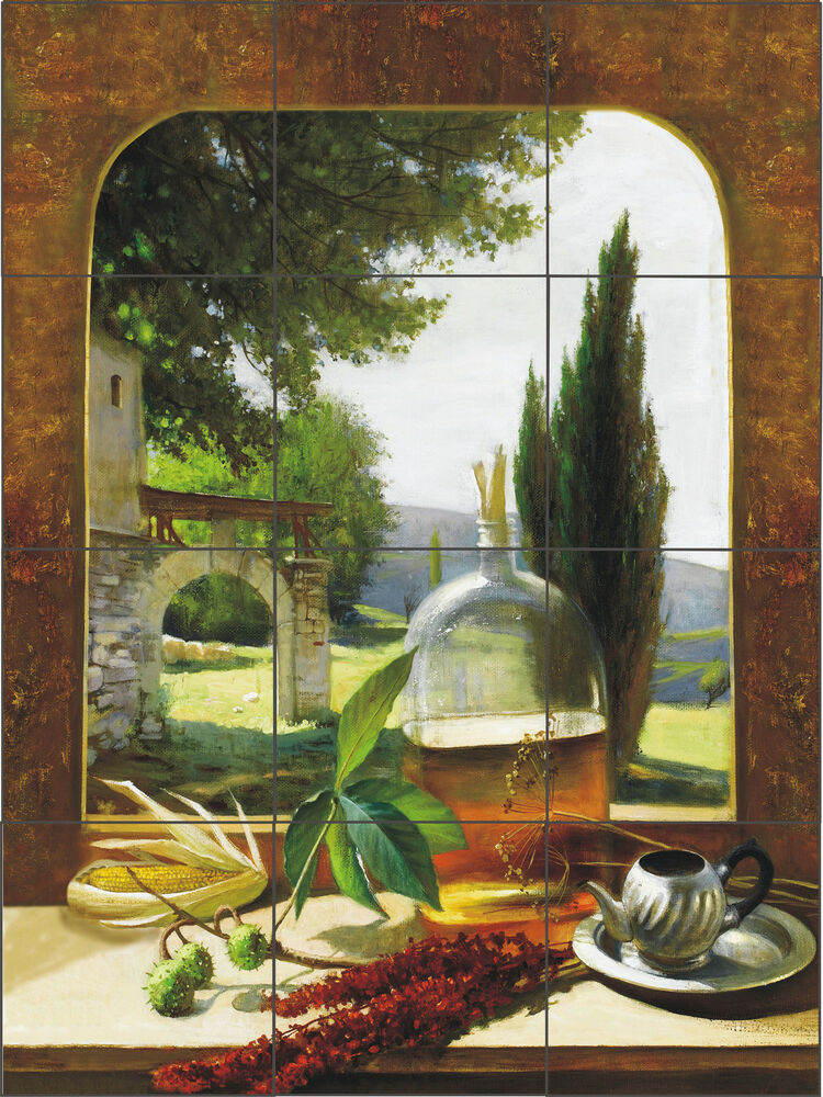 Tuscan window artistic tile mural kitchen back splash for Backsplash mural