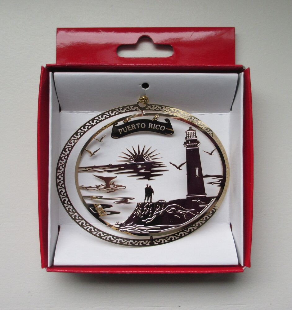 Puerto Rico Brass Christmas ORNAMENT Lighthouse Travel