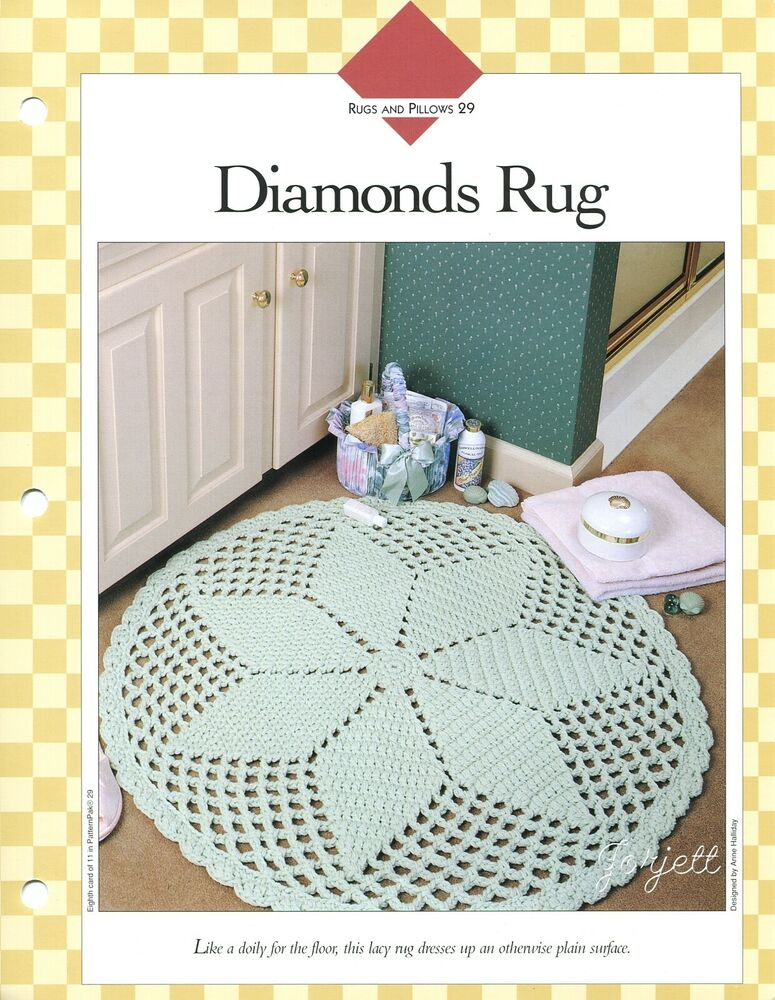 Diamonds Rug ~ Round Scalloped Star Rug crochet pattern eBay