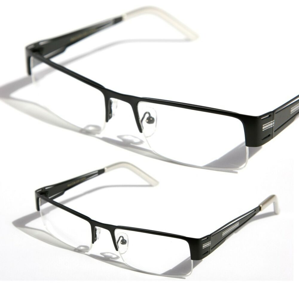 Rectangular Half Rimless Metal Sun-Glasses Optical RX ...