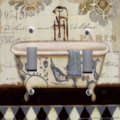 Light Switch Plate Outlet Covers BATHROOM DECOR FRENCH BATH TUB WASH