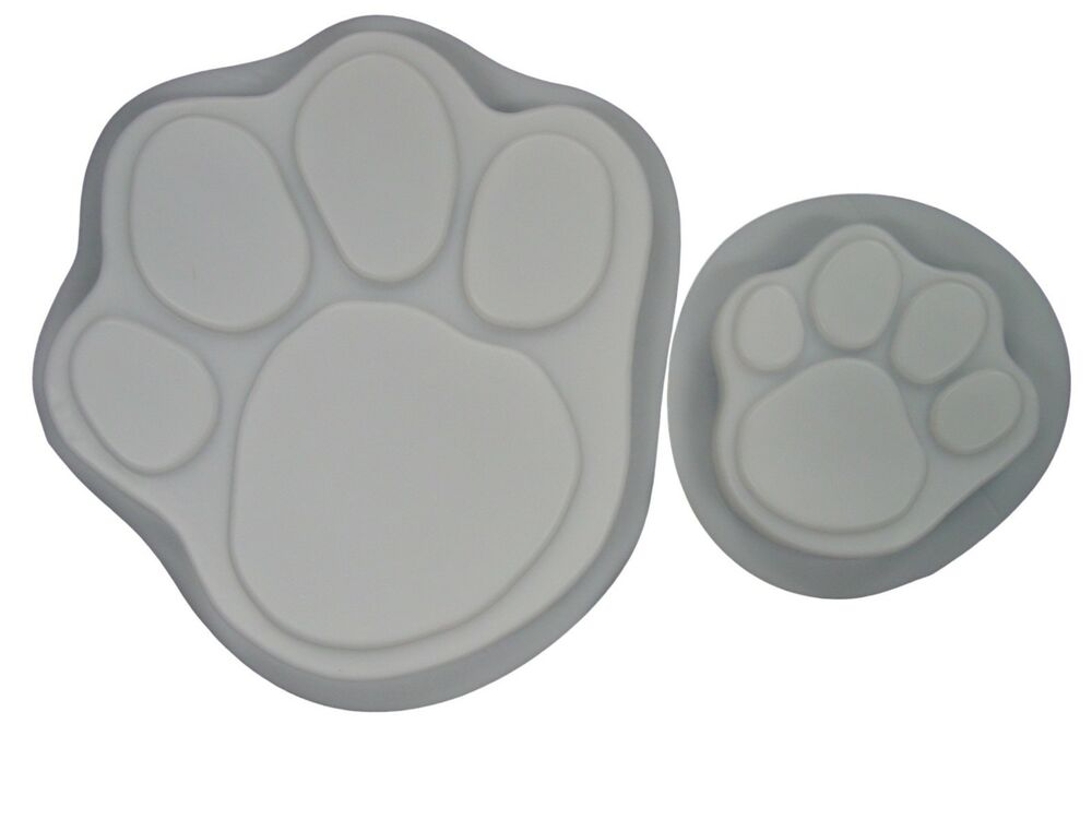 Lg Amp Sm Dog Cat Paw Footprint Concrete Stepping Stone Mold