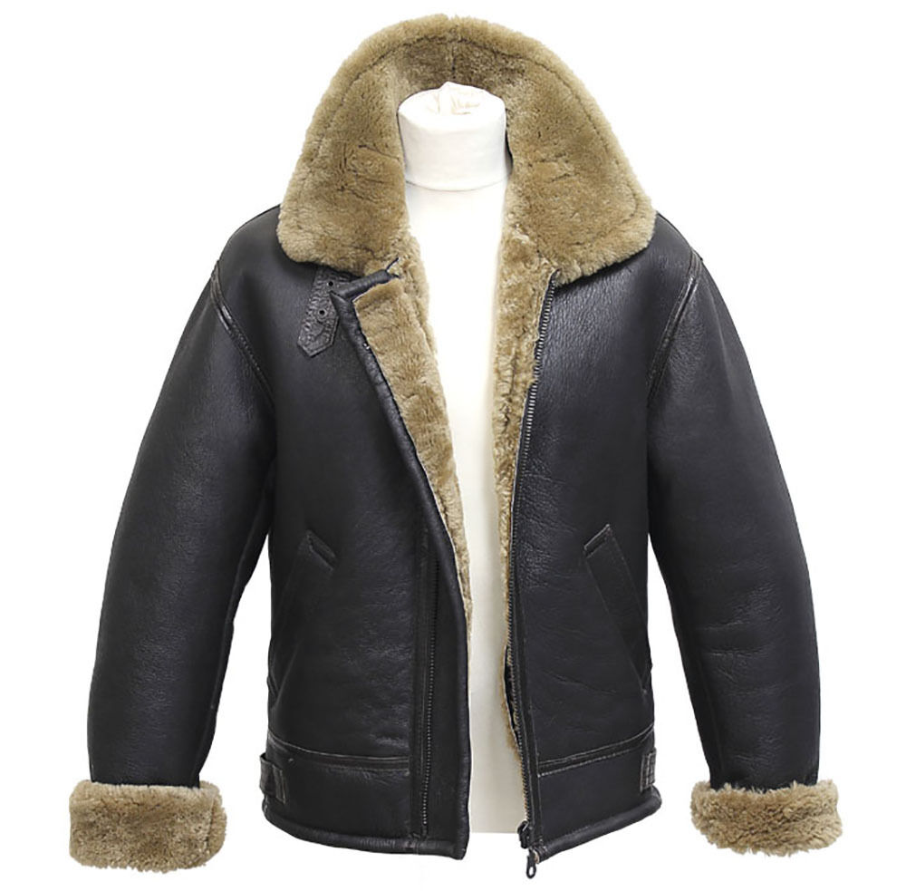 Men's Aviator B3 Ginger Real Shearling Sheepskin Leather Bomber Flying Jacket | eBay