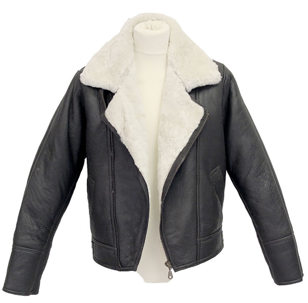 Mens leather shearling bomber jacket