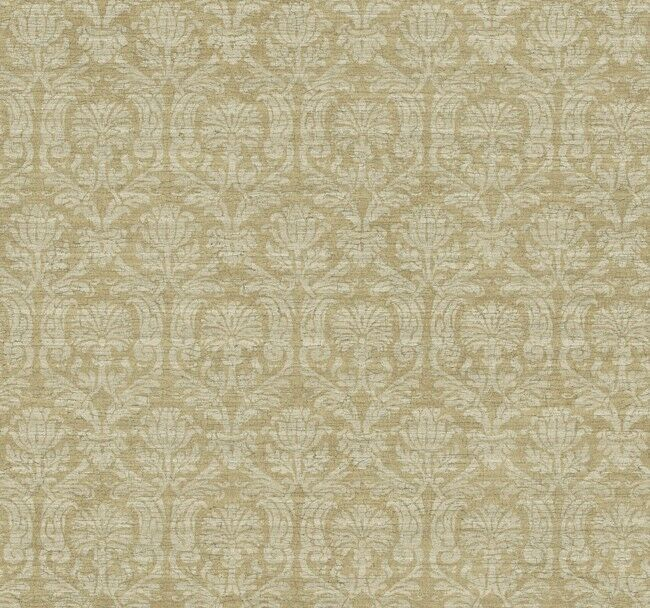 wallpaper designer silver metallic damask on tan brown