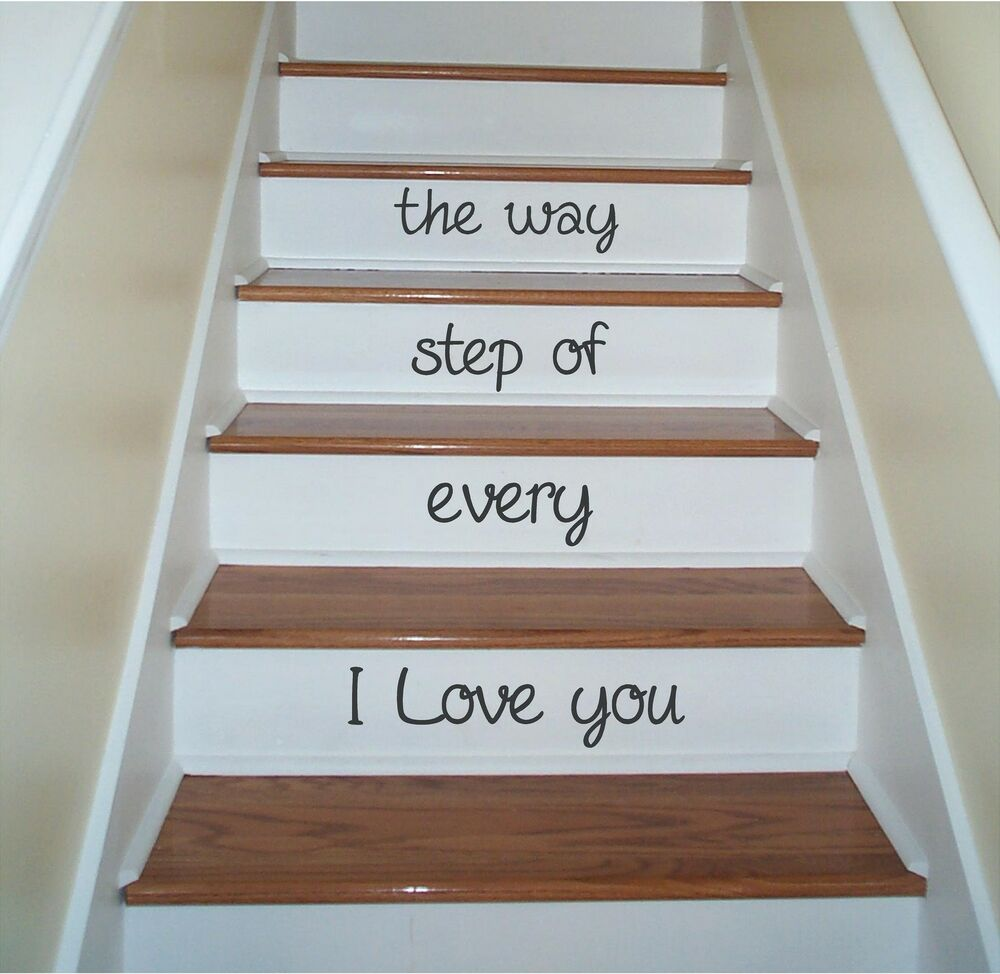 i love you stairs step sign vinyl decor wall lettering words quotes decal art ebay. Black Bedroom Furniture Sets. Home Design Ideas
