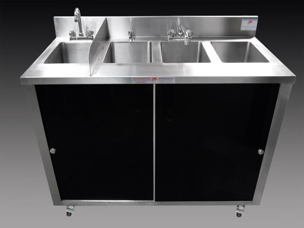 Portable Stainless Steel Sink : ... ALL STAINLESS STEEL PORTABLE 3 COMPARTMENT SINK + HAND SINK eBay