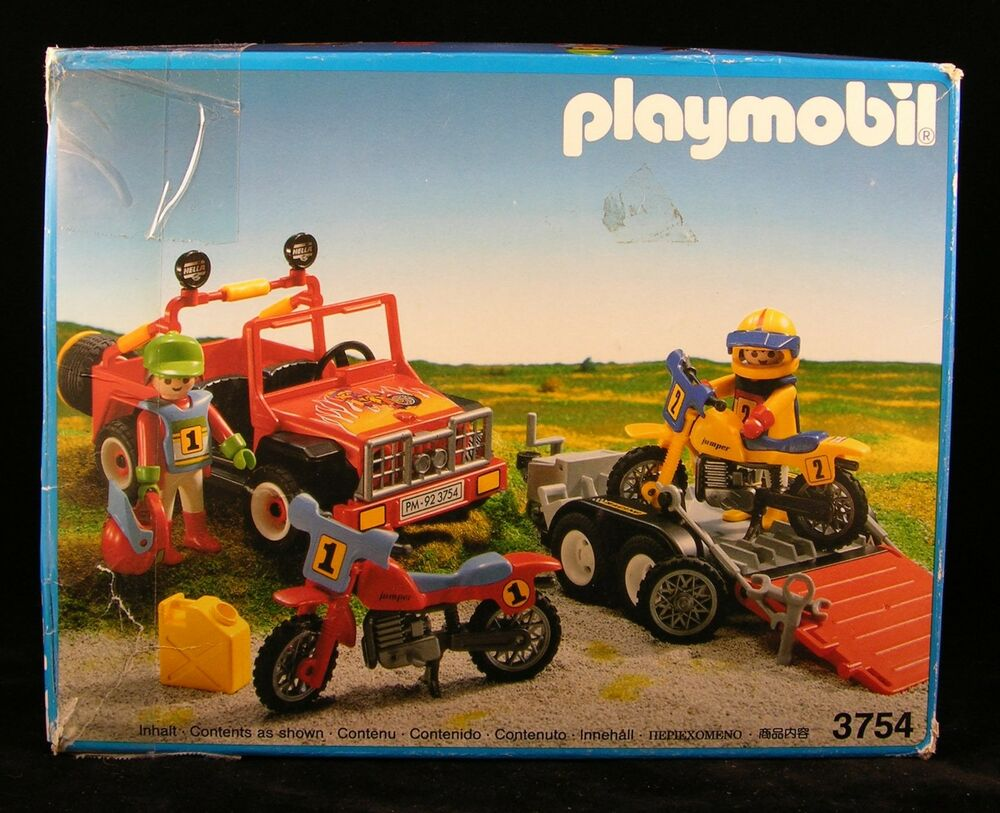 playmobil racing motocross riders jeep trailer 3754. Black Bedroom Furniture Sets. Home Design Ideas