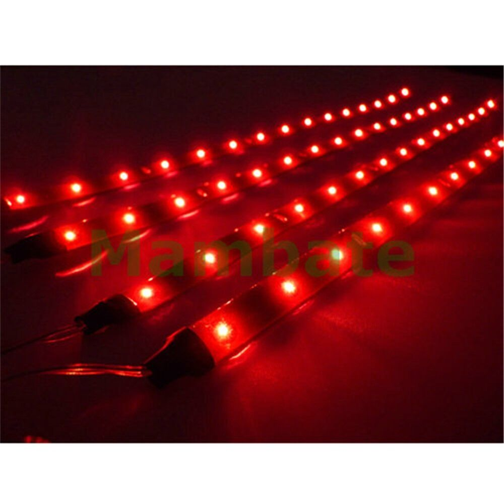 4x30cm/15LED Car Bike SMD Truck Flexible Waterproof Lights String Strips Red eBay