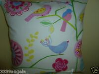 """16"""" NEW CUSHION COVER CHINTZ BIRDS FLOWERS VINTAGE RETRO PINK RED BLUE SHABBY"""