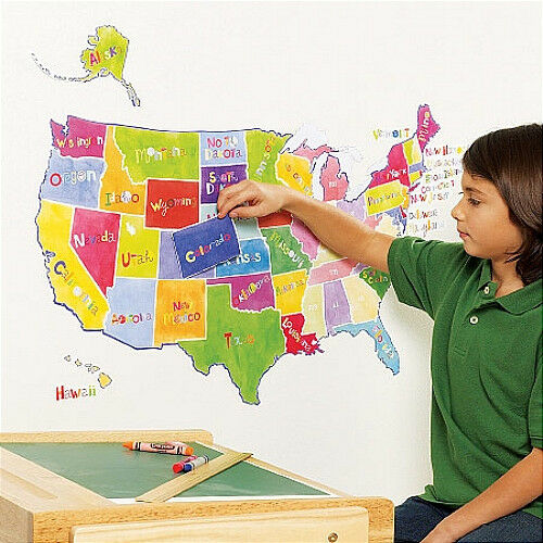 Wallies u s state map wall stickers mural over 50 decals for Classroom wall mural