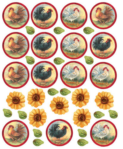 WALLIES ROOSTERS & SUNFLOWERS Wall Stickers 38 Decals Room