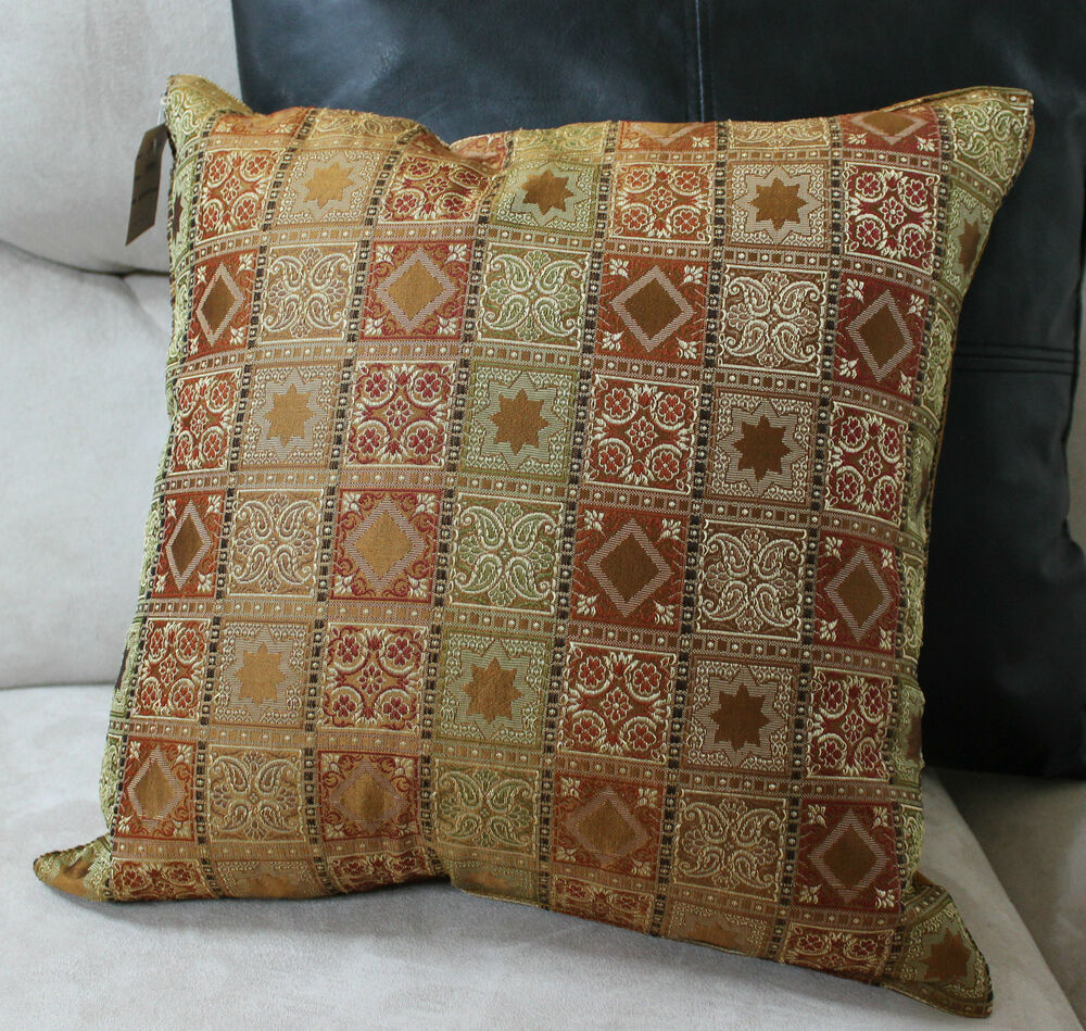 Gracious Home Decorative Pillows : Pillow Gold Accent Decorative Designer Cover Home Decorator Design 16x16 eBay