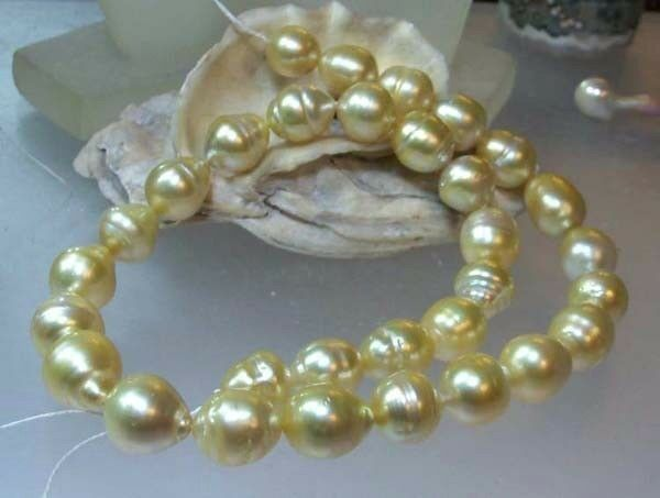 SALTWATER SOUTH SEA PEARLS STRAND 11-16mm NATURAL GOLDEN ...