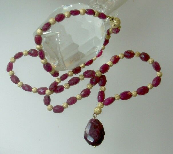 Red Ruby Beads: GENUINE FACETED RED RUBY RUBIES BRIOLETTE 14K GOLD