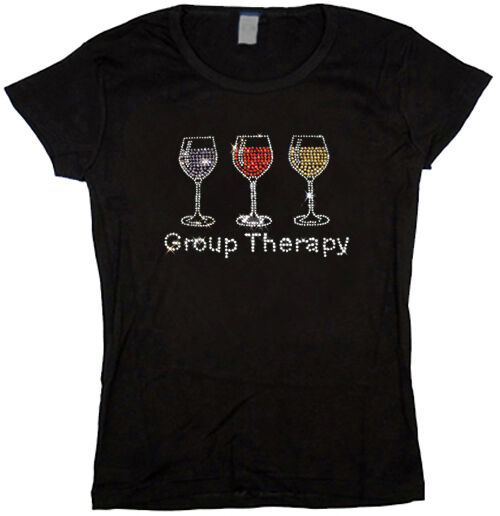 Ladies t shirt rhinestone funny wine glass design group for Designer tee shirts womens