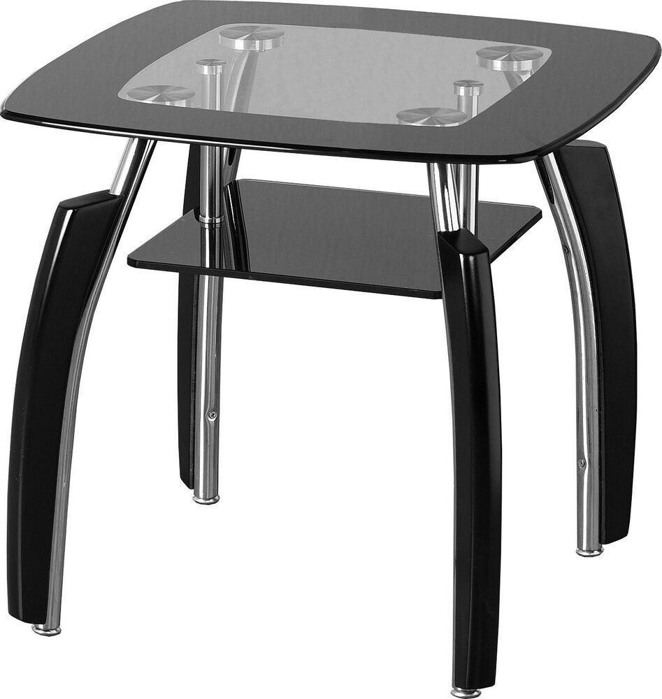 Elena black glass chrome side end lamp table free next for Side and lamp tables