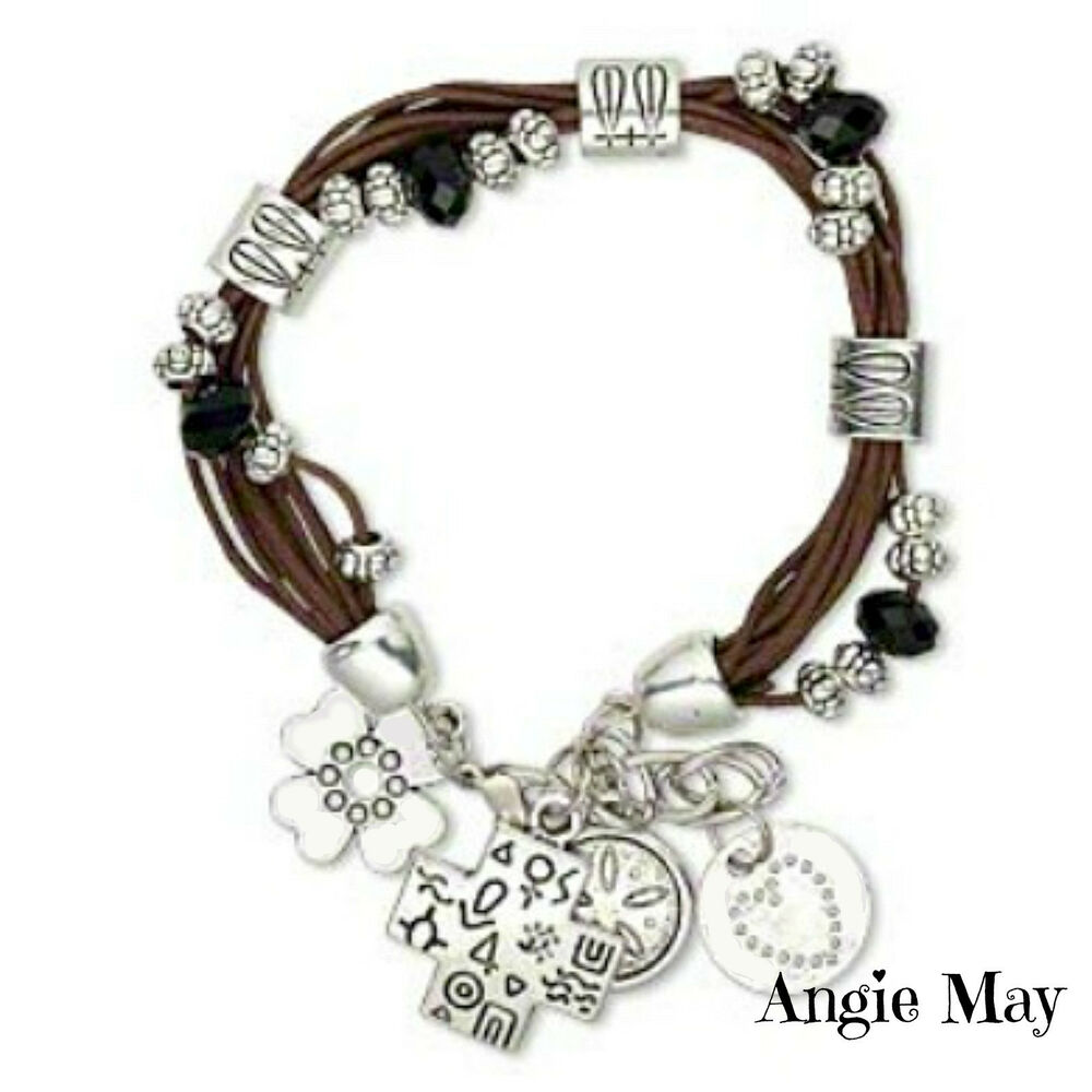 Leather Bracelet With Charms: Multi-strand Leather Bracelet With Antiqued Silver Tribal