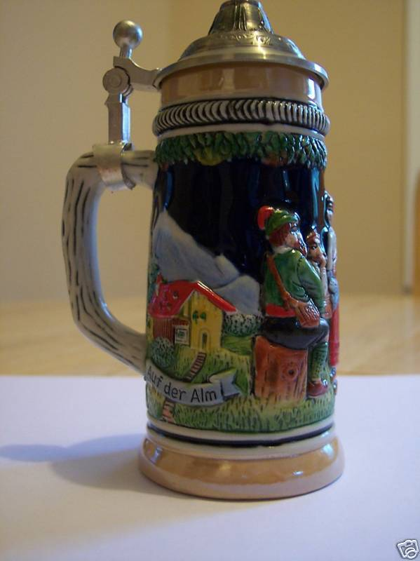 5 lidded german beer stein auf der alm da ist es schor ebay. Black Bedroom Furniture Sets. Home Design Ideas