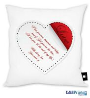 PERSONALISED VALENTINES DAY GIFT WHITE LOVE HEART DESIGN CUSHION KEEPSAKE