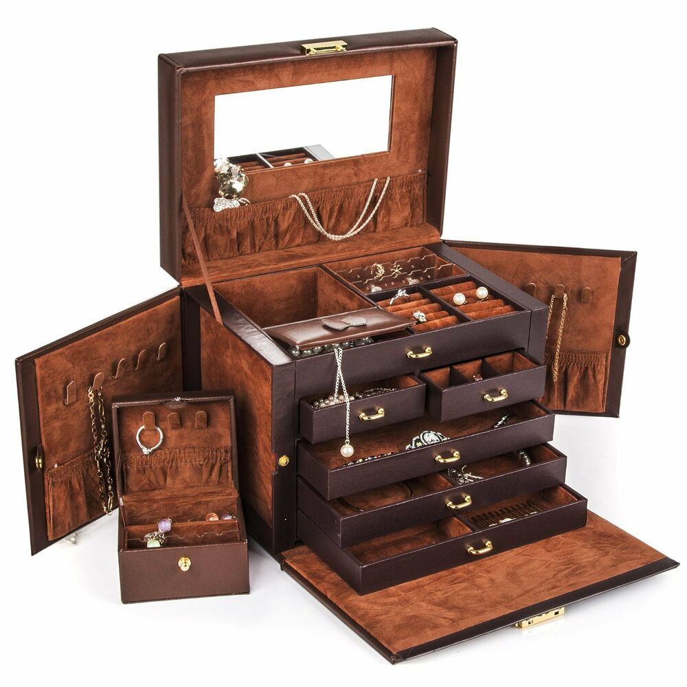 jewelry box beautiful large brown leather jewelry box storage 7981