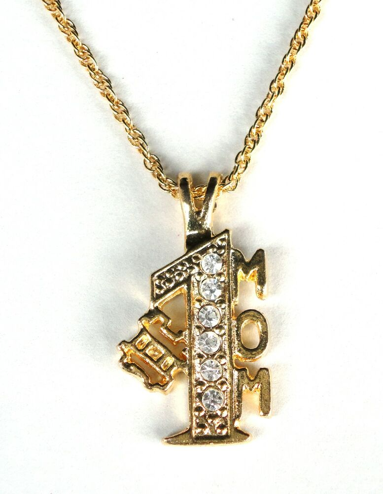 gold plated necklace rope chain 1 mom crystal pendant. Black Bedroom Furniture Sets. Home Design Ideas