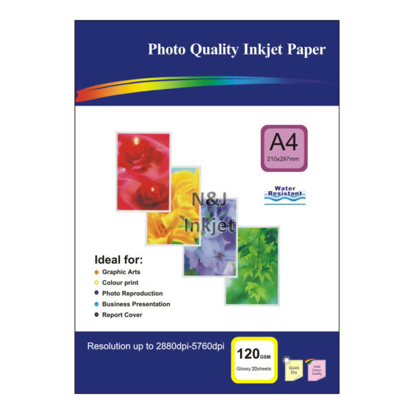20 Sheets of A4 / 4x6 High Quality Glossy Photo Paper for Inkjet Printers