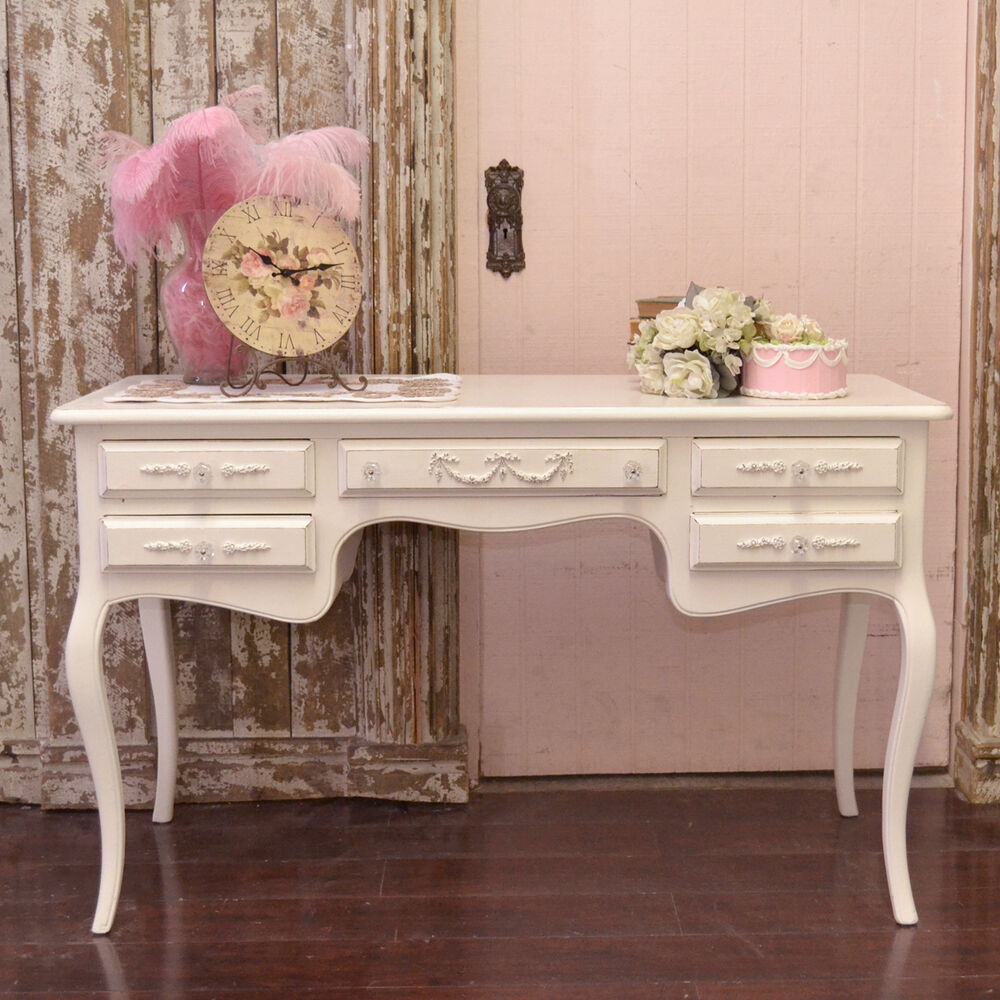 shabby cottage chic white french vintage style writing. Black Bedroom Furniture Sets. Home Design Ideas