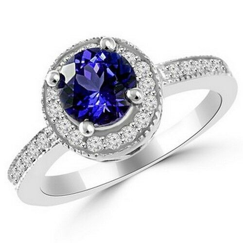 round tanzanite diamond halo 14k white gold engagement ring ebay. Black Bedroom Furniture Sets. Home Design Ideas